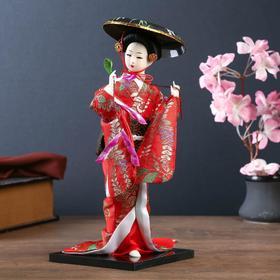 """Кукла коллекционная """"Японка с цветочной ветвью и в шляпе"""""""