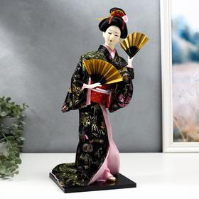"""Doll collection """"Geisha in black and gold kimono with fans"""""""