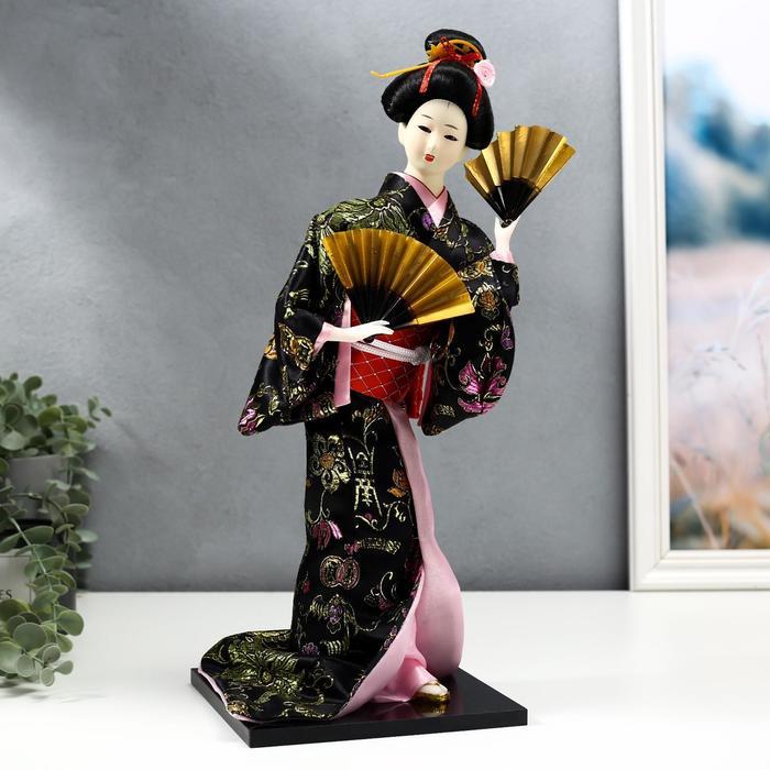 """Кукла коллекционная """"Гейша в черно-золотом кимоно с веерами"""""""