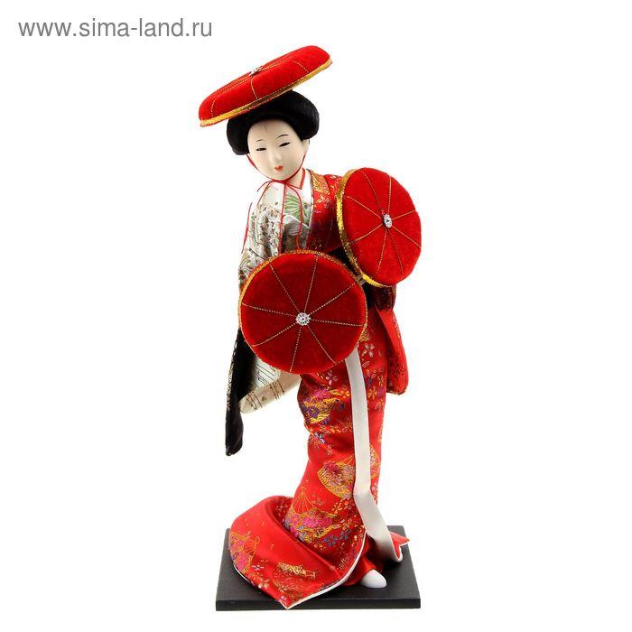 """Кукла коллекционная """"Японка в оливково-красном кимоно с зонтами и в шляпе"""""""