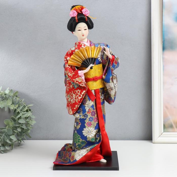 """Кукла коллекционная """"Гейша в шелковом кимоно с веером"""""""