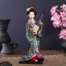 """Кукла коллекционная """"Гейша в цветочном кимоно с музыкальным инструментом"""""""