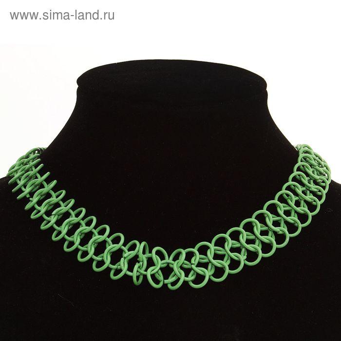 """Бусы """"Плетеный стиль"""", цвет зеленый"""