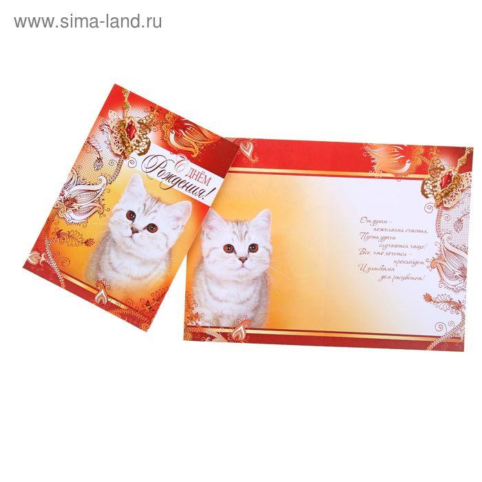 """Открытка """"С Днем рождения!"""", кошка"""