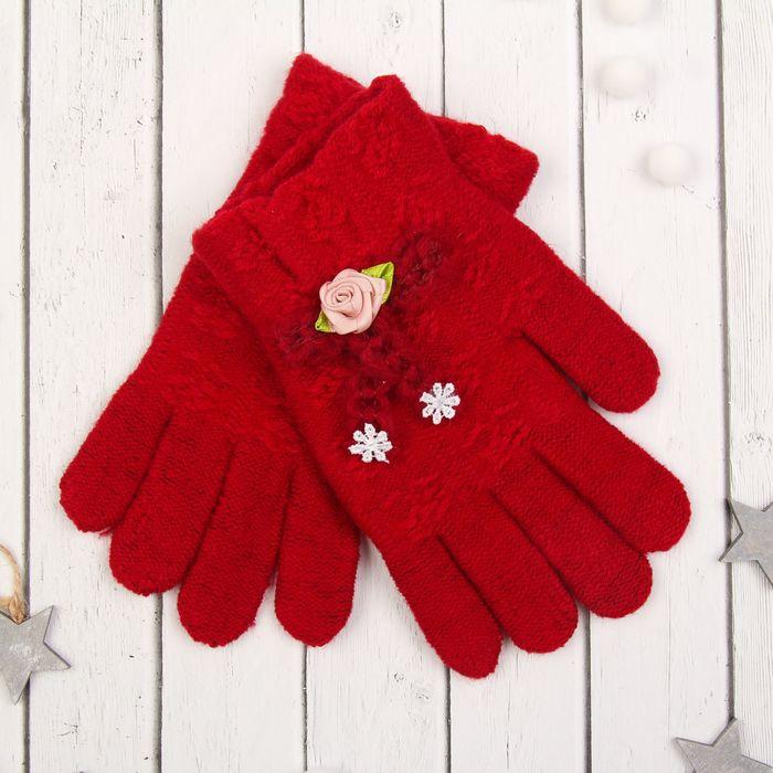 """Перчатки молодёжные """"Розочка"""", размер 20 (р-р произв. 20*1*9), цвет бордовый, аппликация МИКС 65576"""