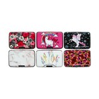 Business card holder plastic, surface is aluminum, 7 pockets inside, MIX color