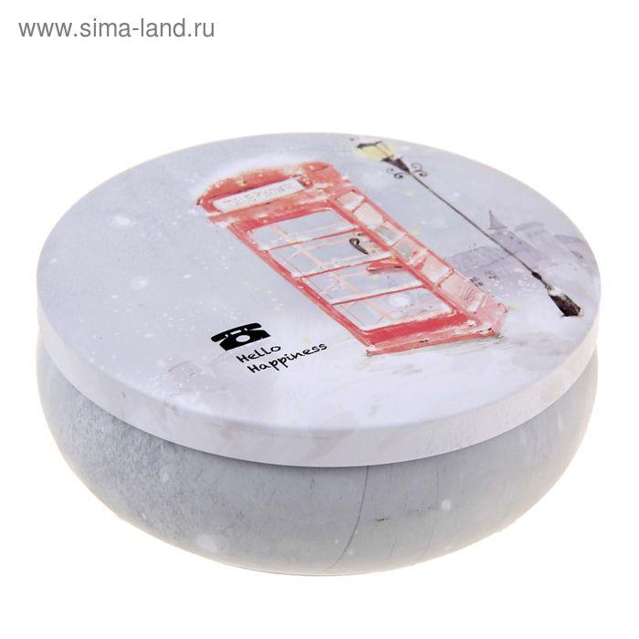 "Шкатулка круг ""Телефонная будка, фонарь, снег"""