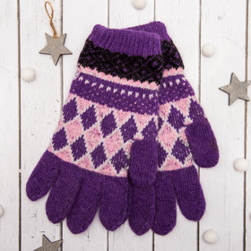"""Перчатки молодёжные """"Лилия"""", размер 20, цвет фиолетовый 65526"""