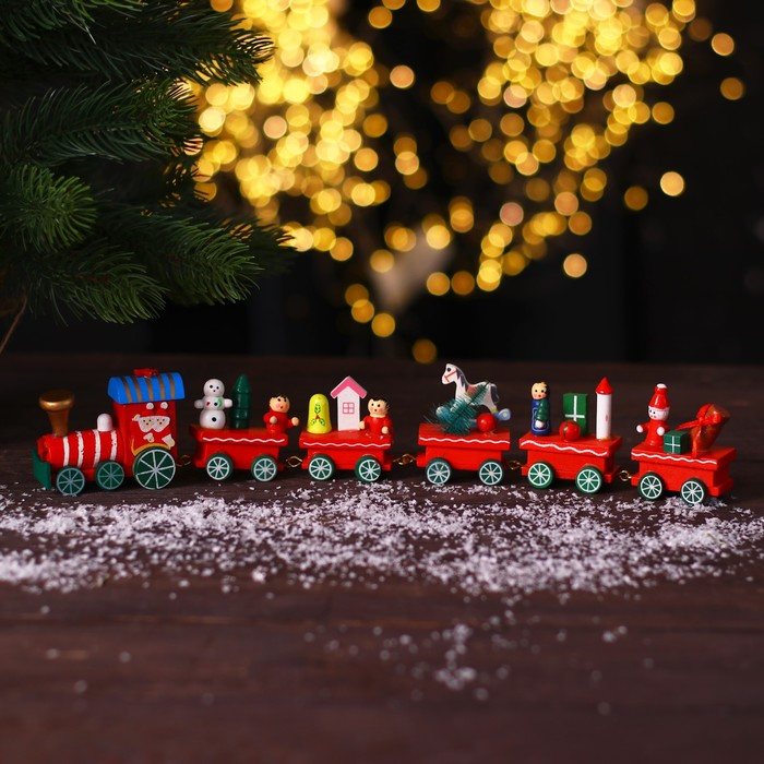 Сувенир новогодний поезд, 32 см, колёса приклеены