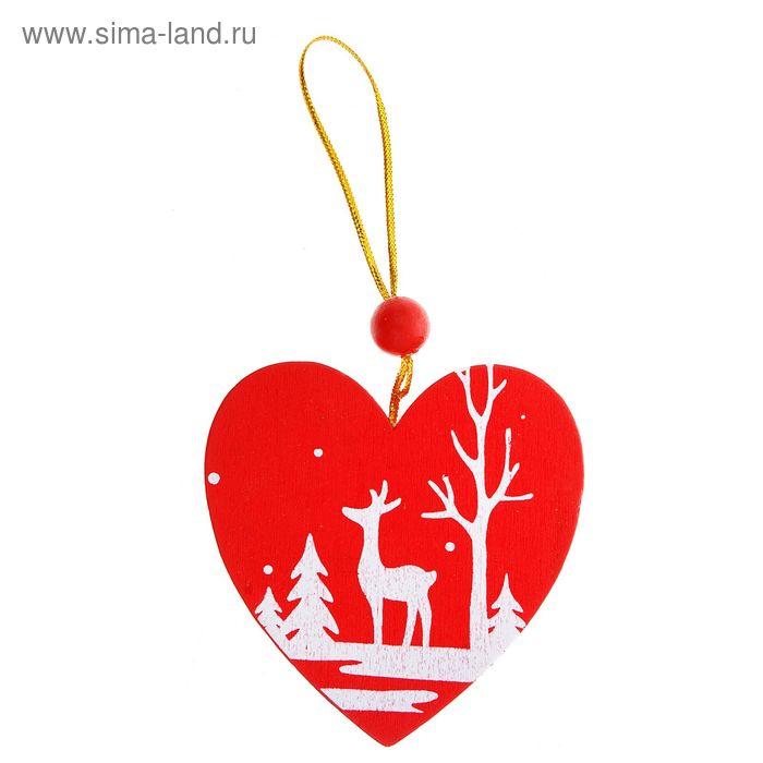 """Подвеска новогодняя """"Зимний лес полон чудес"""" в форме сердца"""