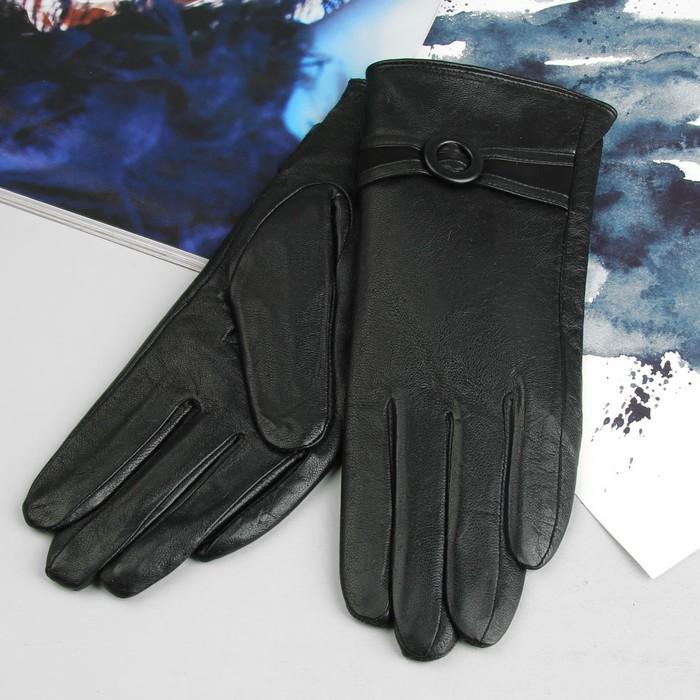 """Перчатки женские """"Вики"""", р-р 6,5, подклад, цвет черный"""