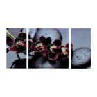 """Картина модульная на стекле """"Черная Орхидея"""" 2-25*50, 1-50*50 см,  100*50 см - фото 1604919"""