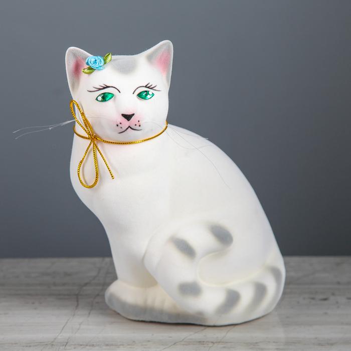 """Копилка """"Кошка Мурка"""" флок, белая, задувка"""
