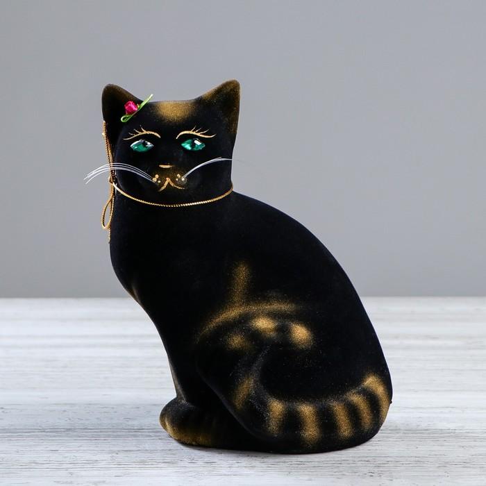 """Копилка """"Кошка Мурка"""" флок, чёрная, задувка золото, микс"""