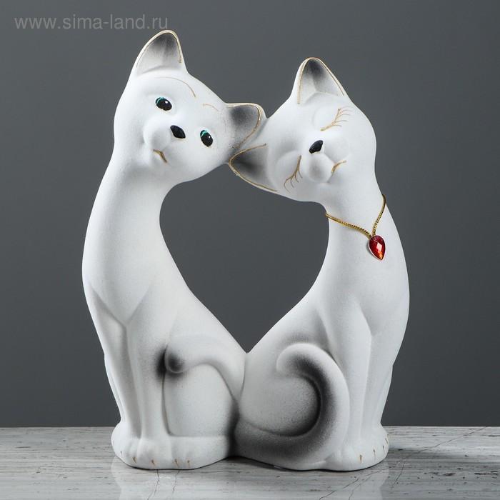 """Копилка """"Влюбленная пара"""" большая, флок, белая, страз"""