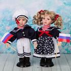 """Кукла коллекционная """"Моряки парочка с флагом"""" (набор 2 шт)"""