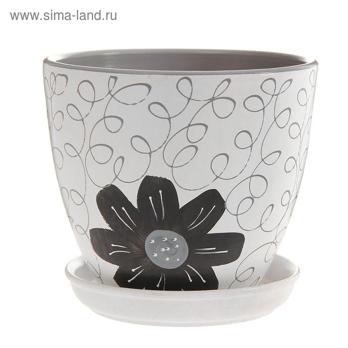 """Кашпо """"Август"""" светло-серое, чёрный цветок 2,4 л"""