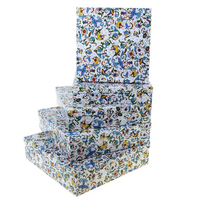 "Набор коробок 5в1 ""Узоры барокко синий"", 34 х 34 х 9 - 26 х 26 х 5 см"