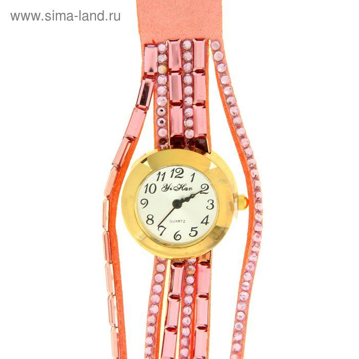 Часы женские наручные, розовый двойной ремешок со стразами