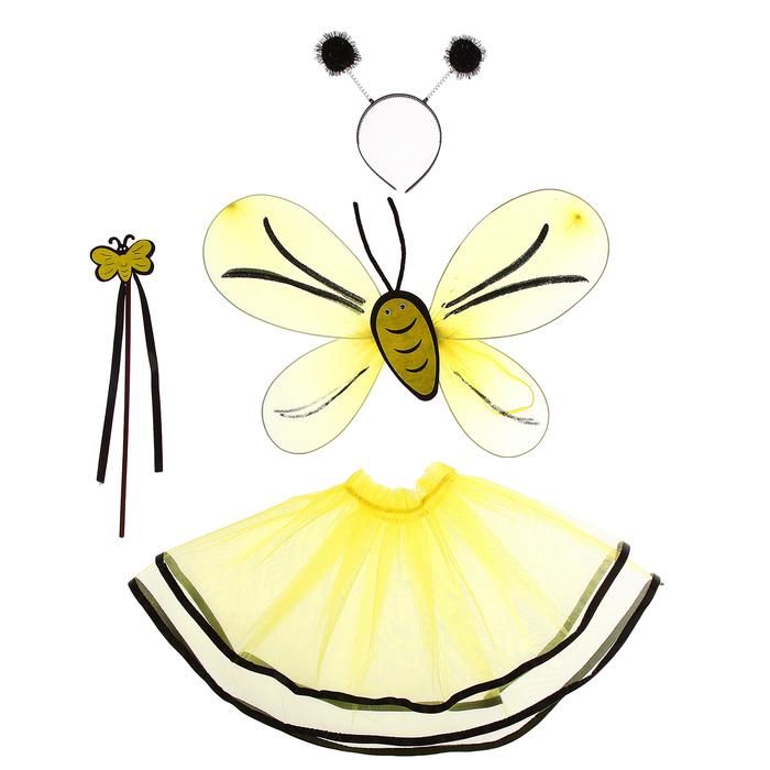 """Карнавальный набор """"Пчелка"""", 4 предмета: юбка, крылья, ободок, жезл, 3-4 года"""