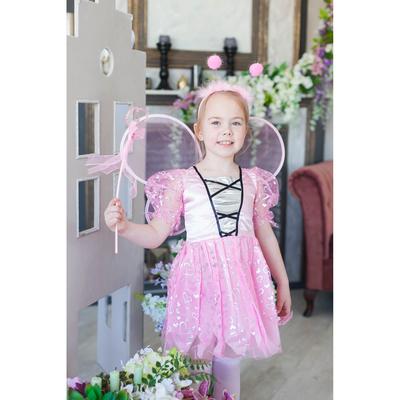 """Карнавальный набор """"Фея"""" в сердечко, 4 предмета: платье, крылья, ободок, жезл, 3-4 года"""
