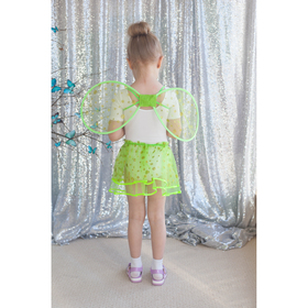 "Carnival set ""Little miracle"", 2 pieces: wings, skirt, 3-6 years, color green"