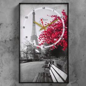 """Часы настенные, серия: Город, """"Цветущее дерево в Париже"""", 57х35х4  см, микс"""