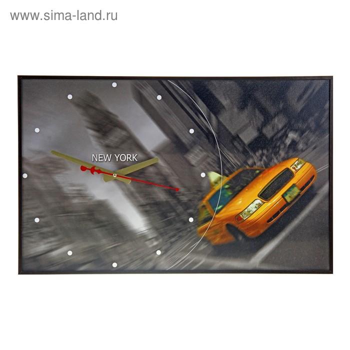 """Часы-картина """"Такси на Таймс Сквер"""", 37х60 см"""