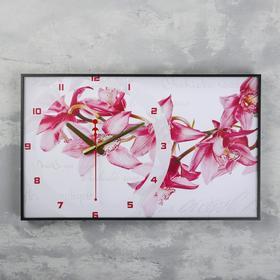 """Часы-картина """"Орхидеи"""", 57х35х4  см, микс"""