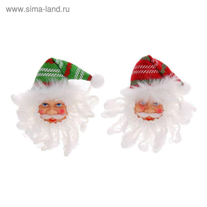 """Значок световой """"Дед Мороз"""", полосатый колпак, цвета МИКС"""