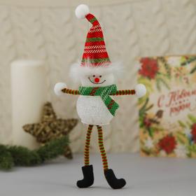 """Мягкая световая игрушка """"Снеговик в колпаке - длинные ручки и ножки"""" 25*5 см"""