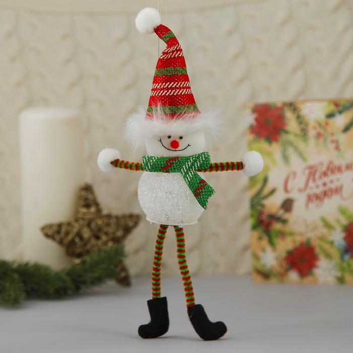 """Световая игрушка """"Снеговик в красном колпаке с тонкими ножками"""""""