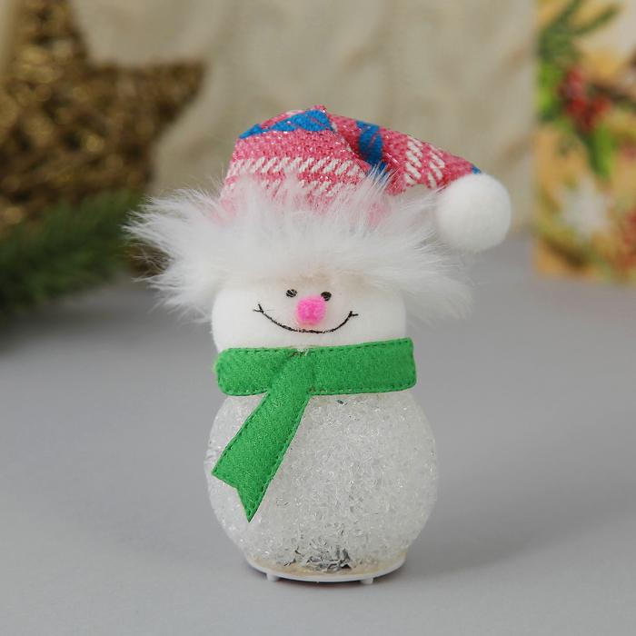 """Световая ёлочная игрушка """"Снеговик в розовом колпаке"""""""