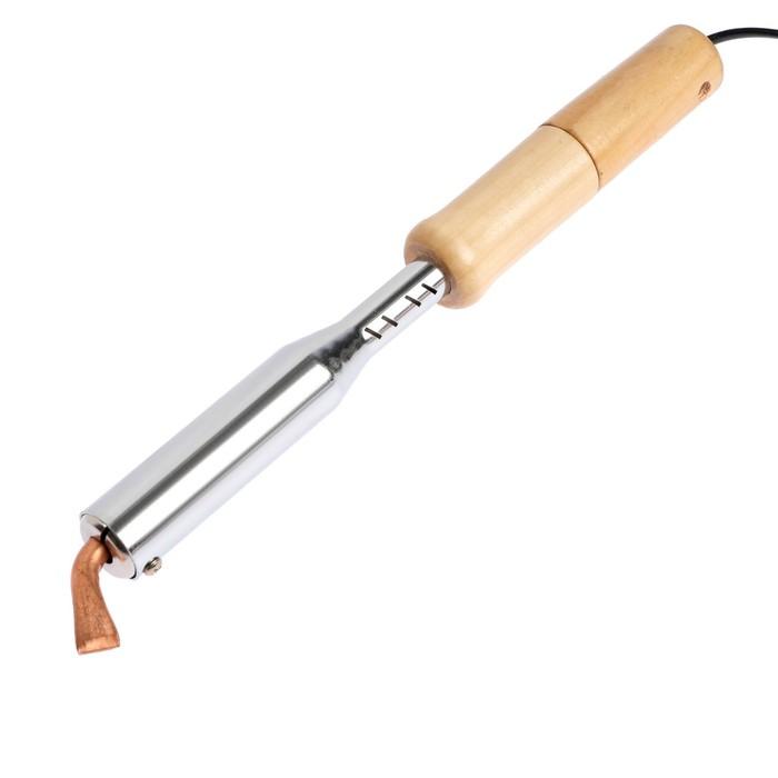 Паяльник TUNDRA basic, деревянная рукоятка, плоское жало, 150 Вт, 220 В