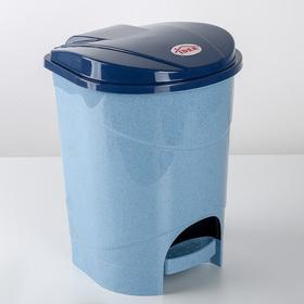 Контейнер для мусора с педалью 7 л, цвет голубой мрамор