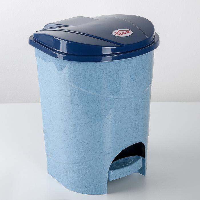 Контейнер для мусора 7 л с педалью, цвет голубой мрамор