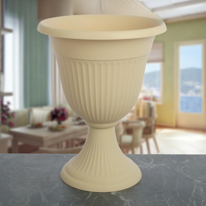 "Кашпо-вазон d=30 см, 5,5 л ""Ливия"", цвет белая глина"