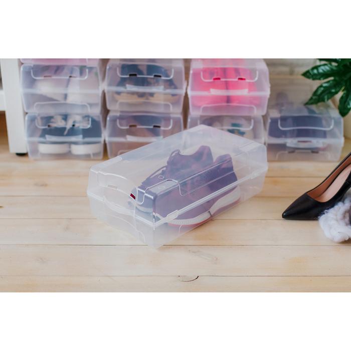 Короб для хранения обуви IDEA «Реноме», 38×20,5×13 см, цвет прозрачный - фото 308334877
