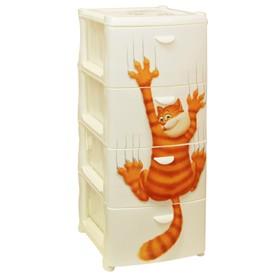 Комод детский 4-х секционный IDEA «Альт Деко: Кот», цвет белый