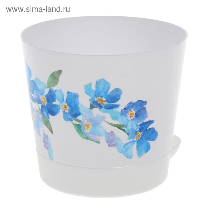 """Кашпо 0,8 л """"Ника деко"""" d=12 см , с прикорневым поливом, голубые цветы"""