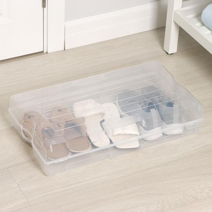 Короб для хранения обуви «Реноме», 61×34×13 см, цвет прозрачный - фото 308334885