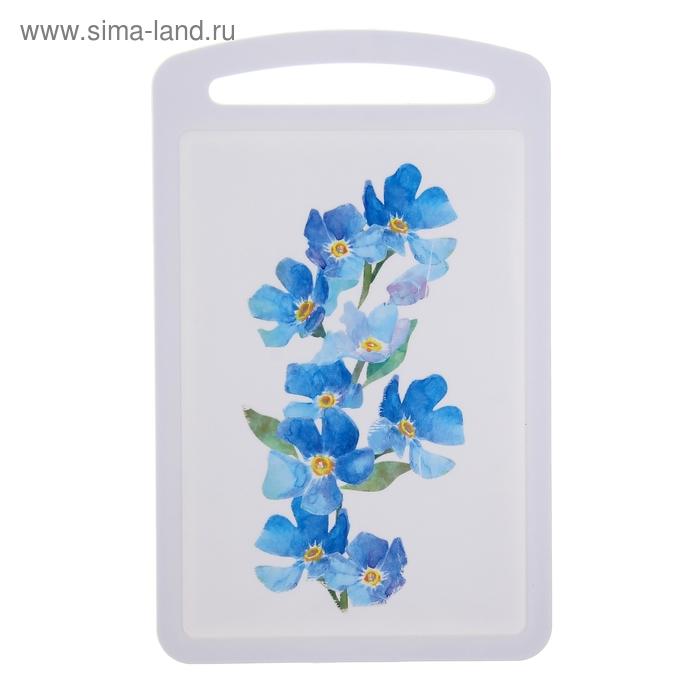 "Доска разделочная 27х18 см ""Голубые цветы"""