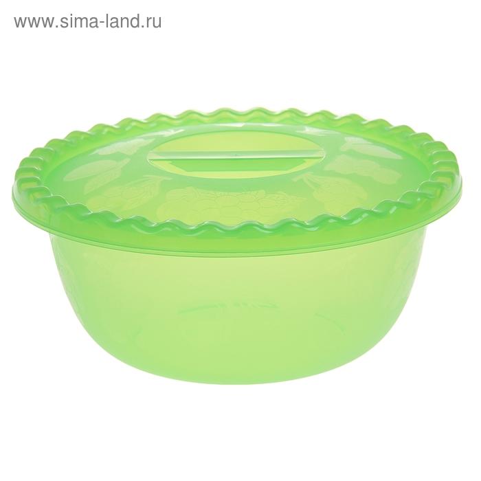 Миска 3 л круглая с крышкой, цвет салатовый