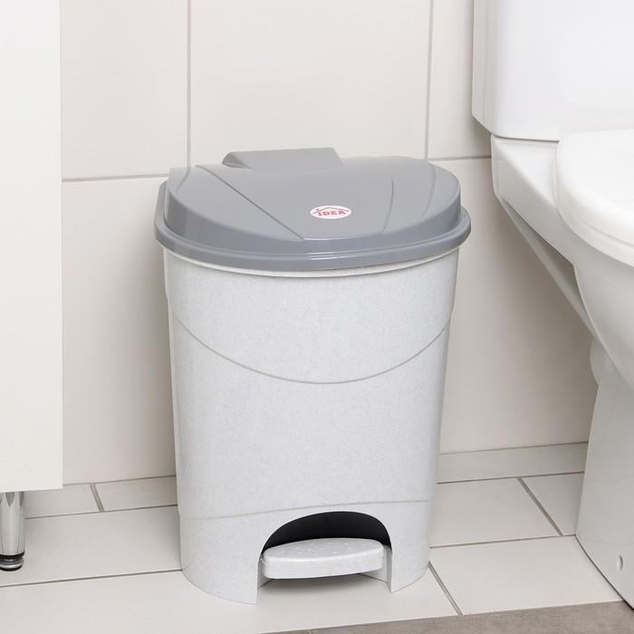 Контейнер для мусора 19 л с педалью, цвет мраморный