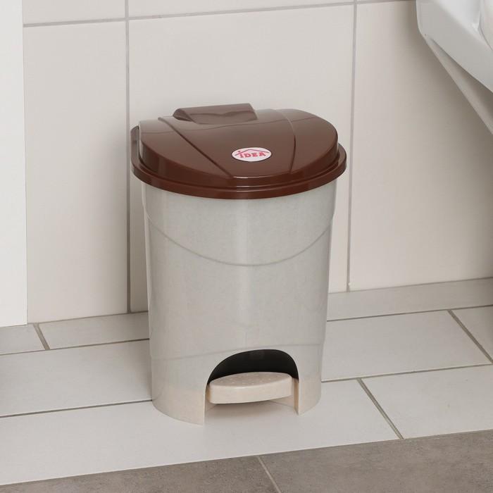 Контейнер для мусора 7 л с педалью, цвет бежевый мрамор