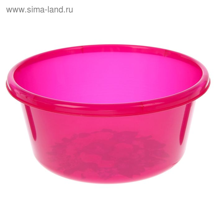 """Таз 6 л, круглый """"Деко"""" прозрачный, цвет розовый"""