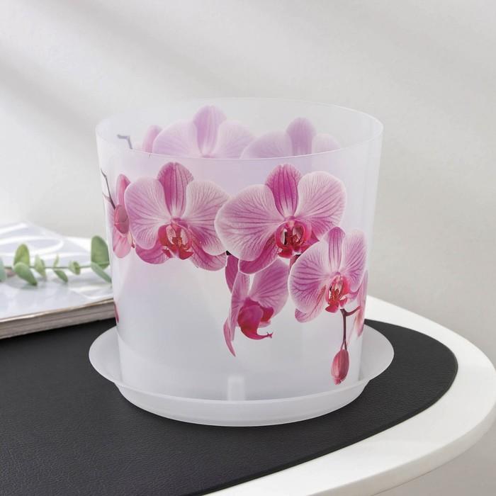 "Кашпо с подставкой 2,4 л ""Деко. Орхидея"" - фото 1694752"