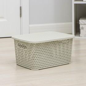 Ящик для хранения с крышкой «Ротанг», 13 л, 37×28×19 см, цвет светло-серый