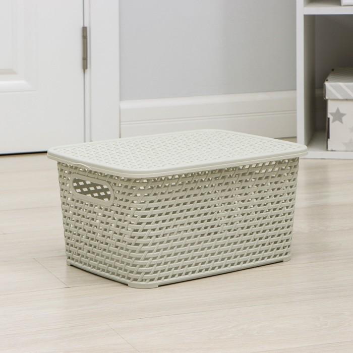 Ящик для хранения с крышкой «Ротанг», 13 л, 37×28×19 см, цвет белый - фото 308327018