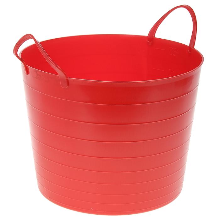 Корзина для белья круглая мягкая 27 л, 37,5×37,5×30 см, цвет красный - фото 4636983